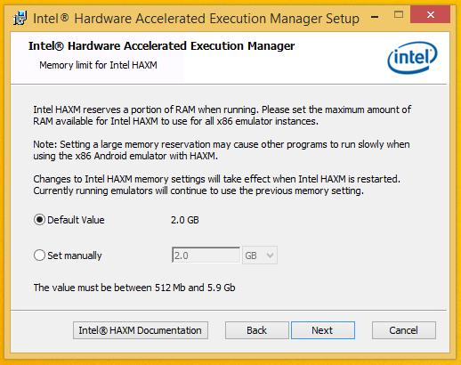 Install HAXM - Settings Screen