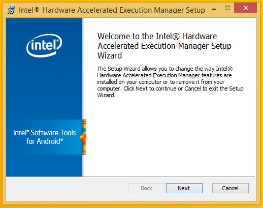 Install Intel HAXM - Start Screen.
