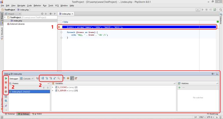 Debugging Php using PhpStorm Debugging tools