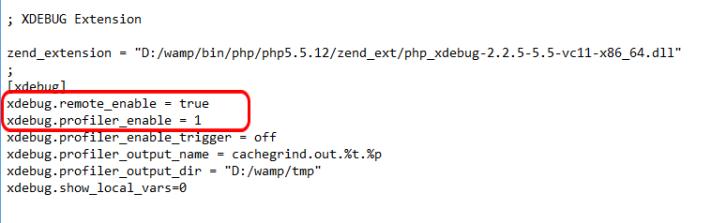 php.ini Xdebug Settings.