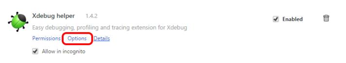 Xdebug Helper Options Link