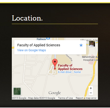Map Displayed on the Footer